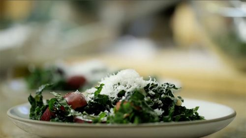 Kale Salad with pinenuts and grape