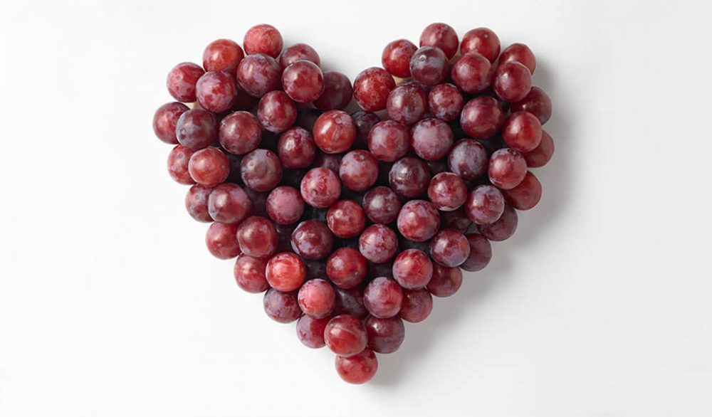 Grapes in the shape of a heart