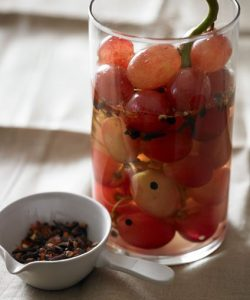 Grapes in a glass with water
