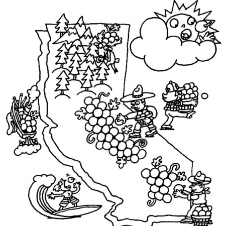 California Grapes Coloring Sheet