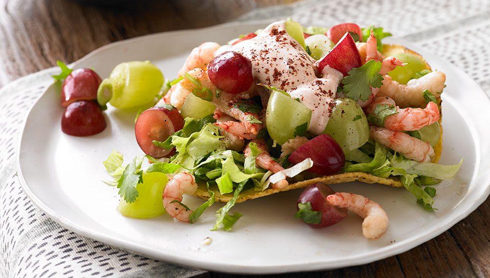 Shrimp Grape Tostada