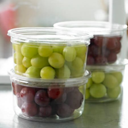 grapes in plastic containers