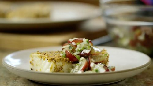 pistachio halibut with grapes