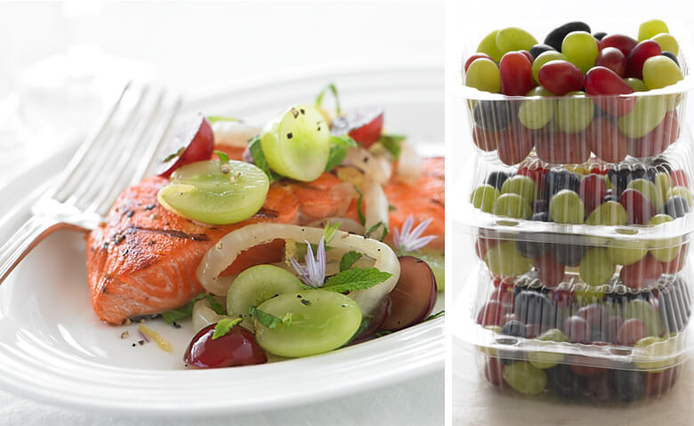 Salmon with grapes