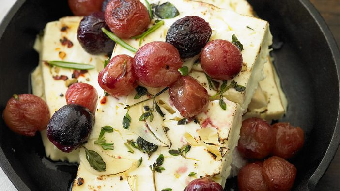 baked-feta-cheese-with-roasted-grapes