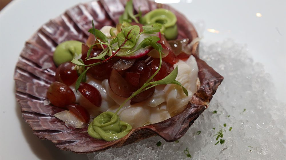 scallop-ceviche-with-avocado-crema-shaved-fennel-and-red-grapes