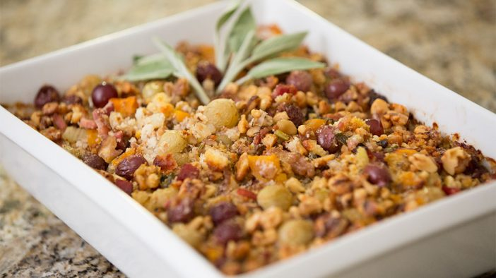cornbread-dressing-with-roasted-grapes-walnuts-and-pancetta