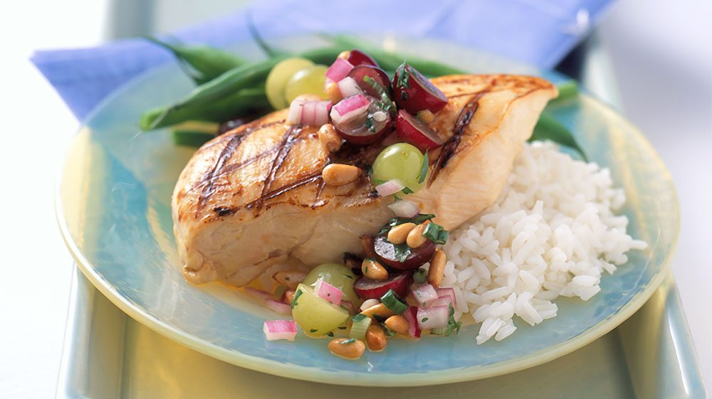 dijon-chicken-with-grape-and-pine-nut-salad