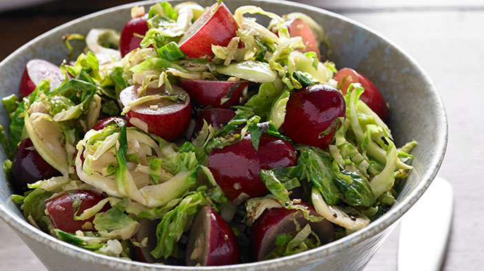 garlic-ginger-brussels-sprouts-and-grapes