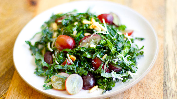 Kale Salad With Grapes And Pine Nuts Grapes From California