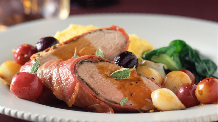 Prosciutto-Wrapped Pork Tenderloin with Roasted Grapes ...