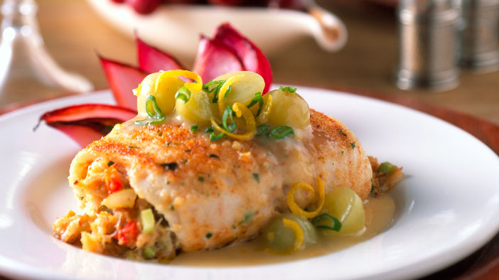 Stuffed Sole Fillets with Crab and Grapes   Grapes from California