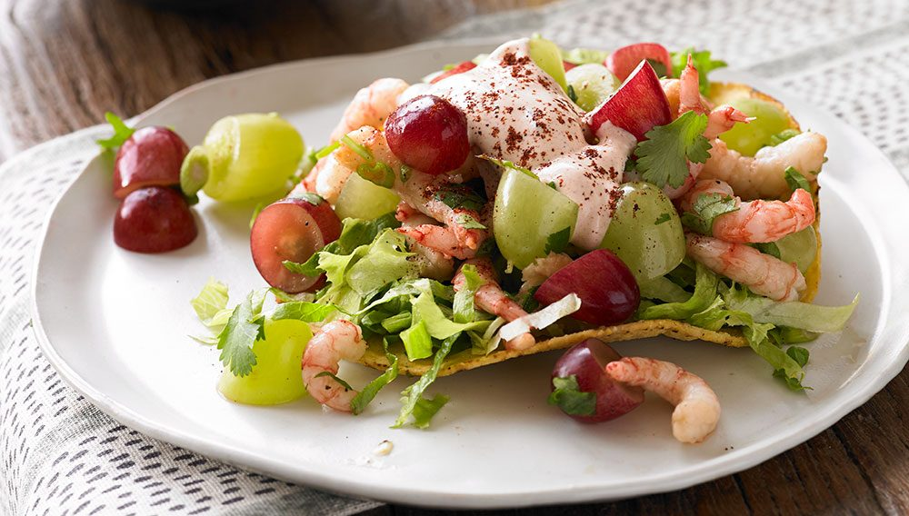 Shrimp Grape Tostada