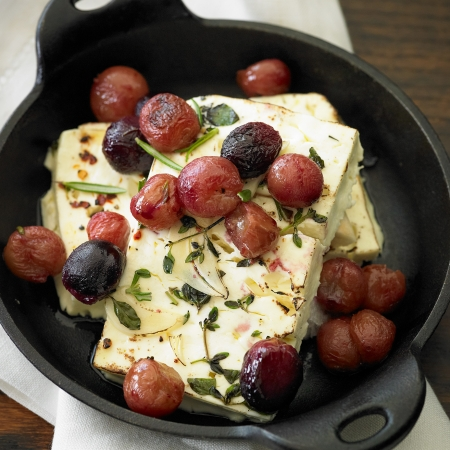Baked feta with grapes