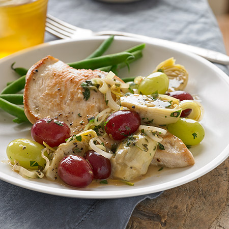 seared-chicken breasts with grapes and artichokes