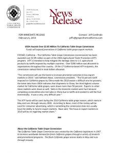 thumbnail of 02/06/19 USDA Awards Over $2.85 Million To California Table Grape Commission